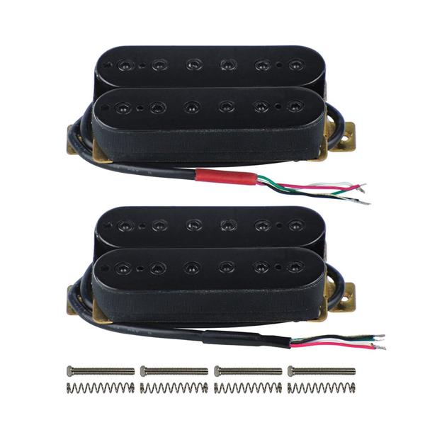 FLEOR Alnico 5 Electric Guitar Neck & Bridge Pickup Set Double Coil Humbucker Pickups-Black