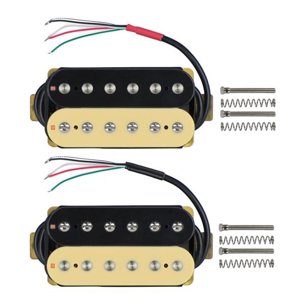 FLEOR Electric Guitar Humbucker Pickups Double Coil Guitar Bridge Pickup & Neck Pickups Set - (Black + Cream)